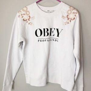 Obey Tops - NWT OBEY white lottie crewneck sweatshirt size M